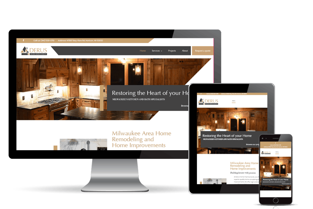 home contractor website for Derus banner home page