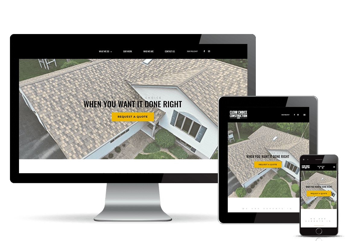 clear choice construction banner home page