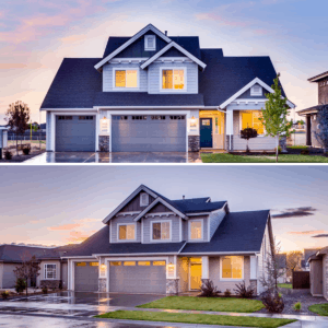 before and after construction of the house exterior