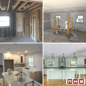 before and after construction of the house interior