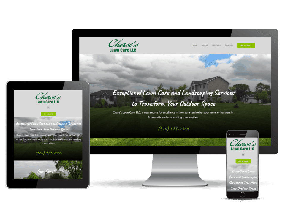 Chase's Lawn Care Website Redesign and hvac digital marketing
