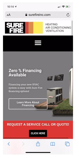 surefire HVAC Company Website page design