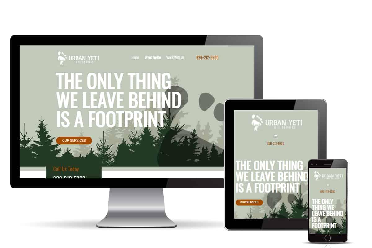 Urban Yeti Tree Services web page